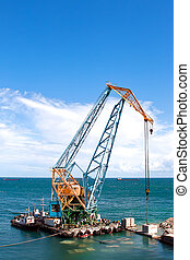 建築工事, 中に, 港