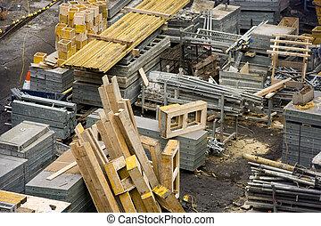 建築工地, 由于, 材料