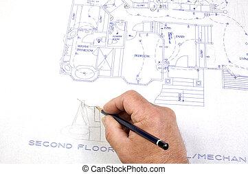 建築業者, 作成, 変化する, へ, 建物は 計画する