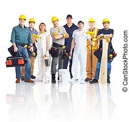 建築業者, 労働者, 人々。