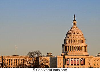 建築物, 傍晚, 州議會大廈