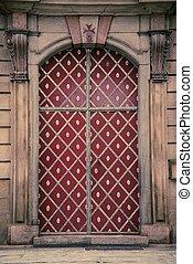 建築物, 入口, 由于, 紅的門