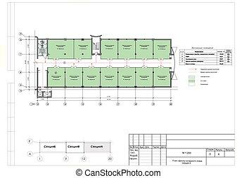 建築物, 商店, 部分, 生產, 計劃, 改造