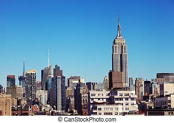 建築物, 地平線, 新約克, midtown, 狀態, 帝國, 曼哈頓