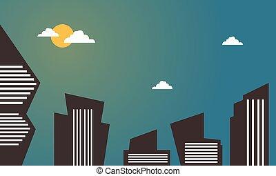 建築物, 城市, 矢量, 卡通, 插圖