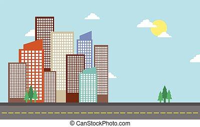 建築物, 城市, 矢量, 卡通, 風景