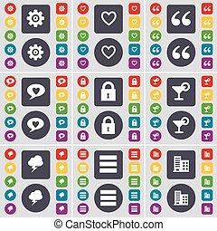建築物, 大, 矢量, 集合, 氣泡, 心, 馬克, 齒輪, 符號。, 鎖, 雞尾酒, 按鈕, apps, 套間, 閃電, 閒談, 圖象, 引文, 上色, 你, design.