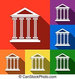 建築物, 套間, 集合, illustration., 圖象, 藍色的影子, 橙, 黃色, 背景。, 歷史, 紫色, 綠色, vector., 紅色