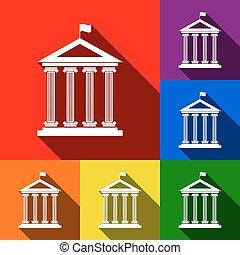 建築物, 套間, 集合, vector., 圖象, flag., 藍色的影子, 橙, 黃色, 背景。, 歷史, 紫色, 綠色, 紅色