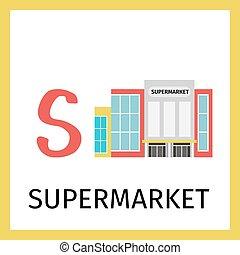 建築物, 字母表, 卡片, 超級市場