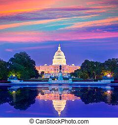 建築物, 州議會大廈, 國會, 華盛頓特區, 傍晚