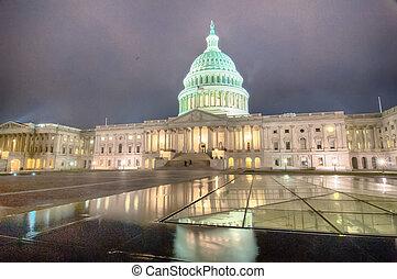 建築物, 州議會大廈, 我們, 夜晚