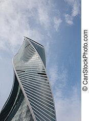 建築物, 市中心, 事務, architecture., 莫斯科, 現代, 天空, 針對, 藍色, 摩天樓, 國際