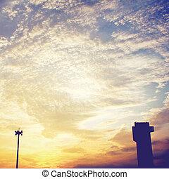 建築物, 晚上, 天空, 影響, 過濾器, 傍晚, retro, 上面, 燈籠