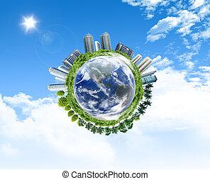 建築物, 概念, 全球, envionment, 對象, 地球, forrest, 它, 表面