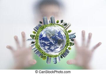 建築物, 概念, 屏幕, 全球, envionment, 後面, 對象, 地球, 人, forrest, 它, 表面