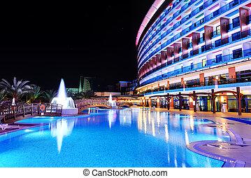 建築物, 火雞, 池, 旅館, 豪華, 夜晚, 闡明, antalya, 游泳