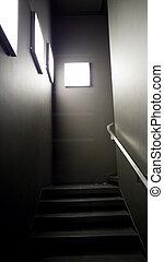 建築物, 照明, 光, 現代, 面板, 樓梯