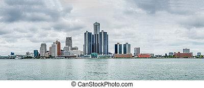建築物, ......的, 一般, 馬達, 近, 河, 底特律