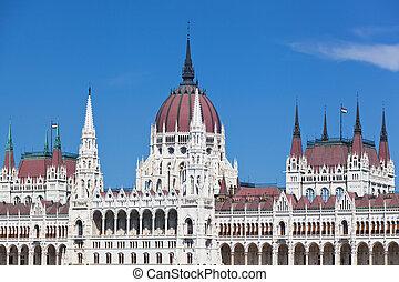 建築物, ......的, the, 匈牙利人, 議會, 在, 布達佩斯, 匈牙利