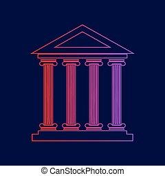 建築物, 藍色, illustration., 坡度, 黑暗, 背景。, 顏色, 歷史, 紫色, 線, 圖象, 紅色, vector.
