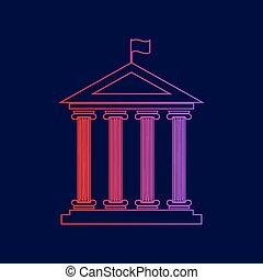 建築物, 藍色, vector., 坡度, flag., 黑暗, 背景。, 顏色, 歷史, 紫色, 線, 紅色, 圖象