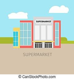 建築物, 超級市場, 上色, 插圖