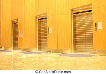 建築物, 辦公室, 三, 電梯, 門, 新