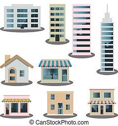 建築物, 集合, 圖象