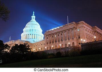 建築物, dc, 州議會大廈, 華盛頓, 小山