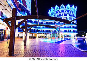 建築物, illumina, 旅館, 豪華, 夜晚水塘, 游泳