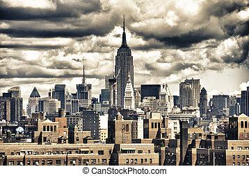 建築物, nyc, 狀態, 地平線, 帝國