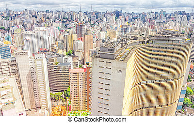 建築物, sao paulo, 著名, copan, 看法