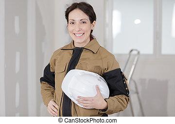 建築者, サイト, 女性, 幸せ