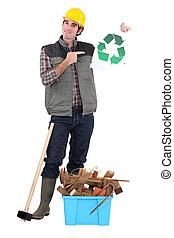 建築者, リサイクル, 無駄