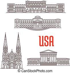 建築, ランドマーク, の, アメリカ
