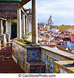 建築, 中に, alfama, 地区, 中に, リスボン, ポルトガル