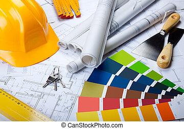 建築, 道具, 上に, 青写真