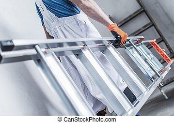 建設工人, 由于, 梯子