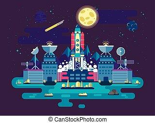 建設正面, 火箭, 插圖, 設施, 高飛, 車站, ancillary