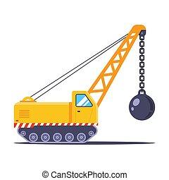 建設車, 破壊, 黄色の建物