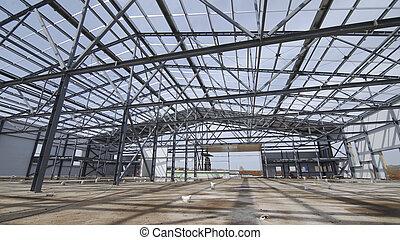 建設, ∥あるいは∥, 構造, 現代, 倉庫, 鋼鉄, 新しい, 建物, 工場, warehouse., against., 構造, サイト, コマーシャル