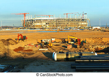 建設, の, フットボール, 競技場