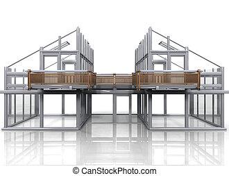 建設, の, a, 家