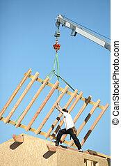 建設, の, a, 木製の家