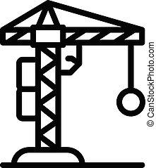 建設, アイコン, スタイル, 破壊, アウトライン, クレーン