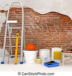 建設, アパート, 下に, renovation.