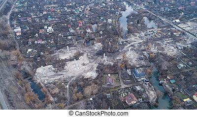 建設, ウクライナ, 空中写真, 橋, 新しい, kiev