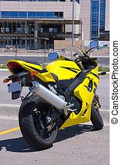 建設, オートバイ, 黄色, 駐車される