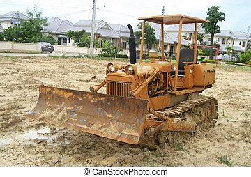 建設, サイト, 掘削機